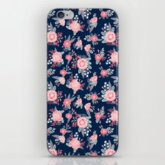 Florals navy coral pink blooms flower pattern girly trendy nursery baby iPhone & iPod Skin