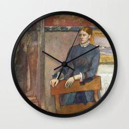 Helene Rouart in her Father's Study by Edgar Degas Wall Clock