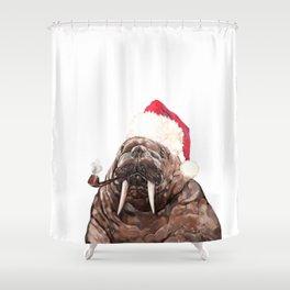 Christmas Daddy Walrus Shower Curtain