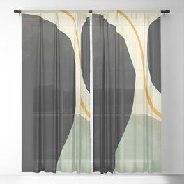 shapes organic mid century modern Sheer Curtain
