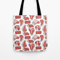 meat Tote Bags featuring meat by ELLA CHERREY