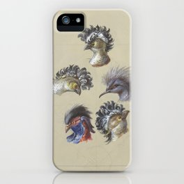 French antique wallpaper: crested birds iPhone Case