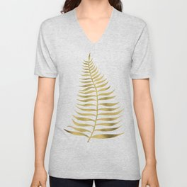 Golden Palm Leaf Unisex V-Neck
