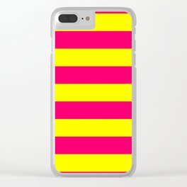 Bright Neon Pink and Yellow Horizontal Cabana Tent Stripes Clear iPhone Case