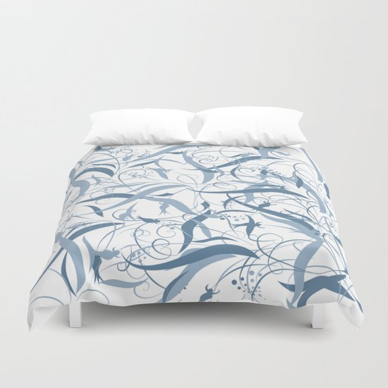 Elegant Blue Floral Leaf Scroll Pattern Duvet Cover