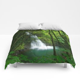 Waterfall in the Azores Comforters
