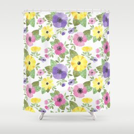 Spring Bouquet Watercolor Shower Curtain
