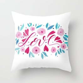 Love and flowers - pink and turquoise Throw Pillow