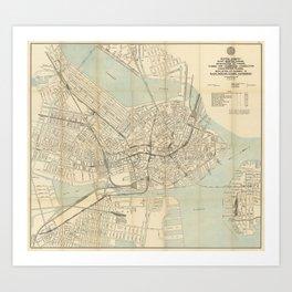 Vintage Downtown Boston Subway Map (1917) Art Print