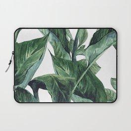 Watercolor Tropical Green Leaves Laptop Sleeve