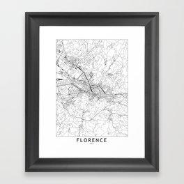 Florence White Map Framed Art Print