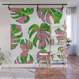 Botanical forest green pink coral watercolor tropical monster leaves Wall Mural