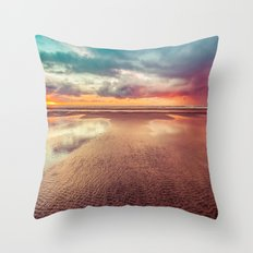 Ocean Sea Beach Water Clouds at Sunset - Hwy 101 Pacific Coast Highway Throw Pillow
