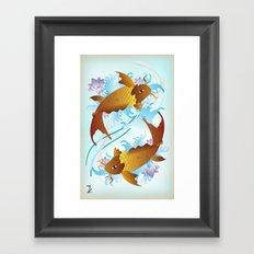 Twin Koi Framed Art Print