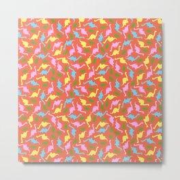 Pastel Dino Pattern Metal Print