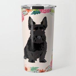 scottie dog breed floral wreath pet portrait dog gifts Travel Mug