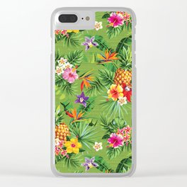 Bright Tropical Floral Clear iPhone Case