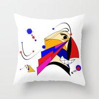 birdman Throw Pillows featuring Birdman by Charles Oliver