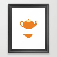 Orange Teapot and Cup Framed Art Print