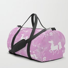 Unicorns and flowers - pink Duffle Bag