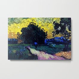 Field with Trees, the Chateau of Auvers by Vincent van Gogh Metal Print