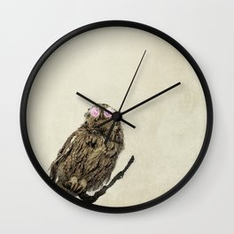 Owl with Pink Rose Eyes on Beige with Vintage Texture Wall Clock