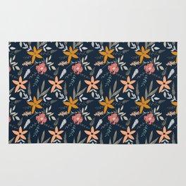 Ditsy Folk Floral Pattern Rug