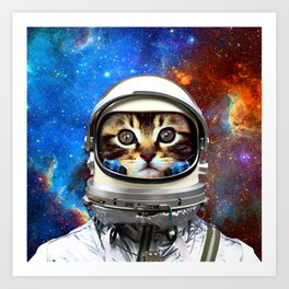 Astronaut Cat #2 Art Print