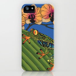 Tree Frog with Orchids iPhone Case