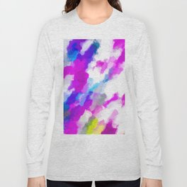 psychedelic painting texture abstract in pink purple blue yellow and white Long Sleeve T-shirt