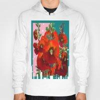southwest Hoodies featuring Orange Hollyhocks Southwest  Garden by SharlesArt