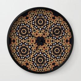 Evening Sun // Geometric Abstract Bohemian Rustic Tribal Black White Boho Circle Star Wall Clock