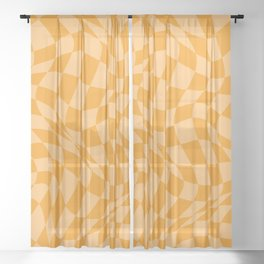 Warped Checkered Pattern in Summer Golden Mustard Yellow Trippy Check Swirl Wavy Groovy Checkerboard Sheer Curtain
