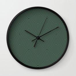 Forest green seamless graphic hexagon pattern Wall Clock