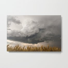 Marshmallow - Storm Cloud Over Golden Wheat in Kansas Metal Print