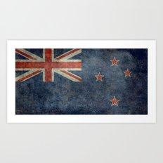 New Zealand Flag - Grungy retro style Art Print