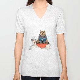Bear Sleigh Unisex V-Neck