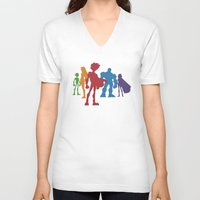 teen titans V-neck T-shirts featuring [ Teen Titans ] Robin, Starfire, Raven, Beast Boy and Cyborg by Vyles
