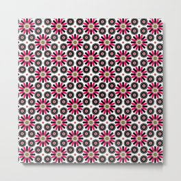Small Hot Pink and Black Flowers Metal Print