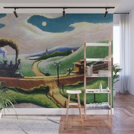 American West Classical Masterpiece 'Trains Colliding' by Thomas Hart Benton Wall Mural