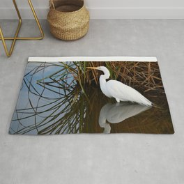 Egret Reflecting By the Reeds Rug