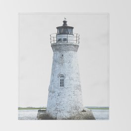 Lighthouse Illustration Throw Blanket