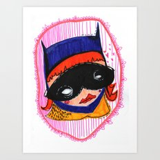 Batgirl in Love Art Print