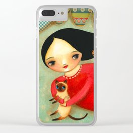 Siamese Cat Angel sweet collage painting by Tascha Clear iPhone Case