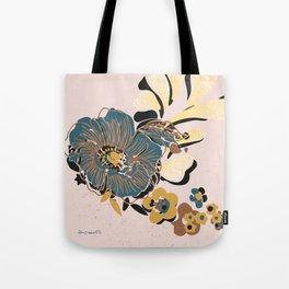 black & floral #blush Tote Bag