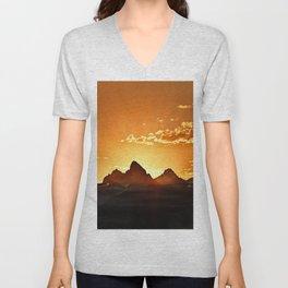 Grand Teton Sunrise Unisex V-Neck