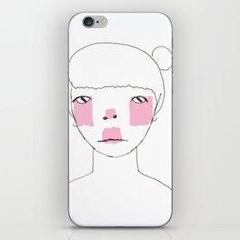 Line Drawing of Girl with Bun  iPhone Skin