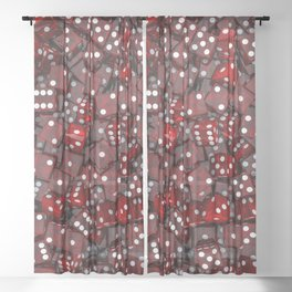 Red dice Sheer Curtain