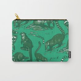 Vintage Woodland Forest Racoons & Critters - Emerald Green Print Carry-All Pouch
