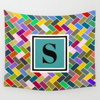 monogram Wall Tapestries featuring S Monogram by mailboxdisco